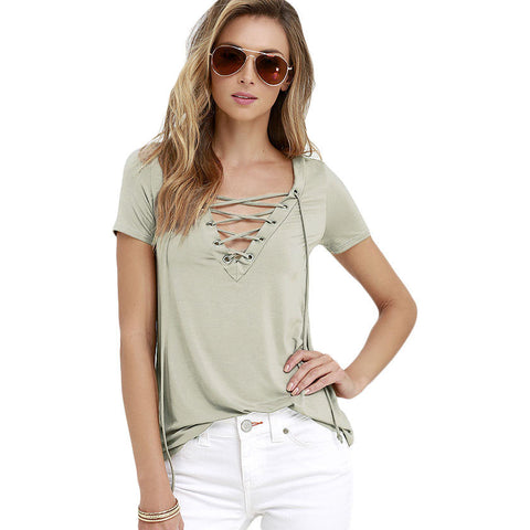 Khaki Lace-Up V Neck T-Shirt LAVELIQ