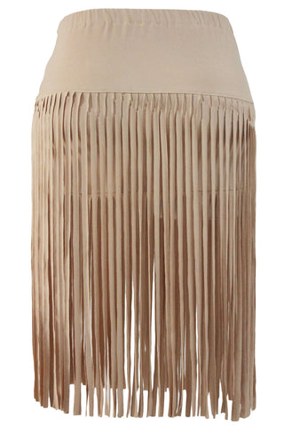 Khaki Polyester Beach Skirt With Tassel LAVELIQ