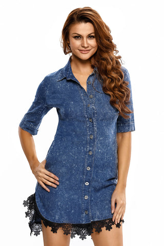 Lace Trim Button Down Denim Shirt Dress LAVELIQ
