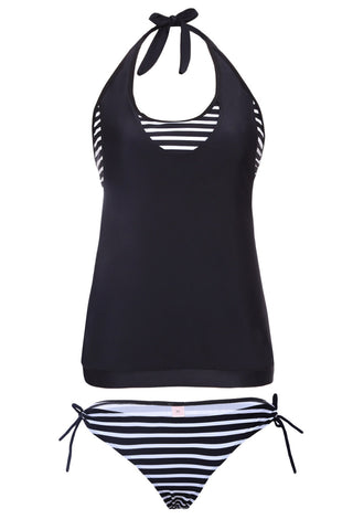 Layered Tankini Rosy Grey Striped 2Pcs Bathing Suit LAVELIQ