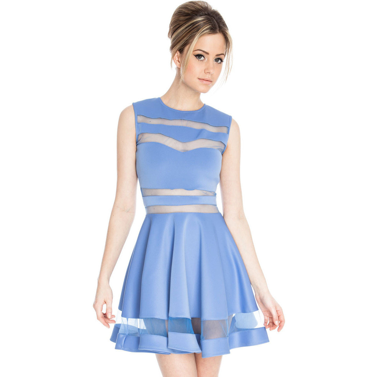 Light Blue Fitting Skater Dress Sale LAVELIQ - LAVELIQ - 1