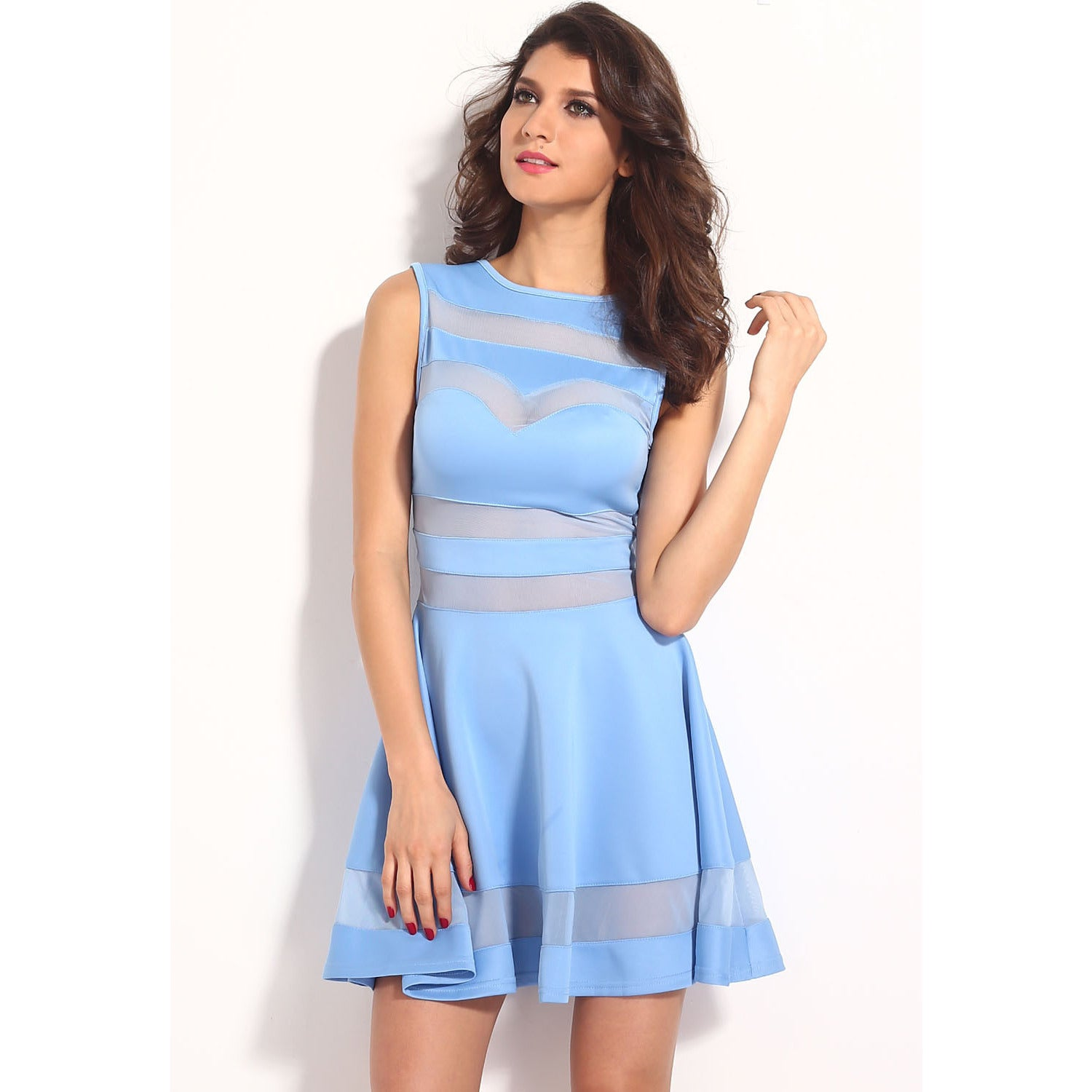 Light Blue Fitting Skater Dress Sale LAVELIQ - LAVELIQ - 2