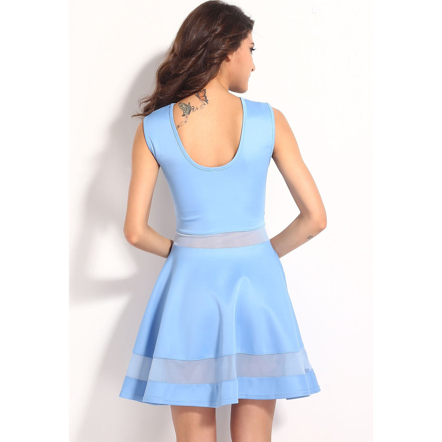 Light Blue Fitting Skater Dress Sale LAVELIQ - LAVELIQ - 4