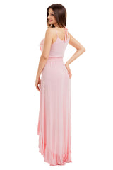 Light Pink Lace Up V Neck Ruffle Trim Hi-Low Maxi Dress LAVELIQ