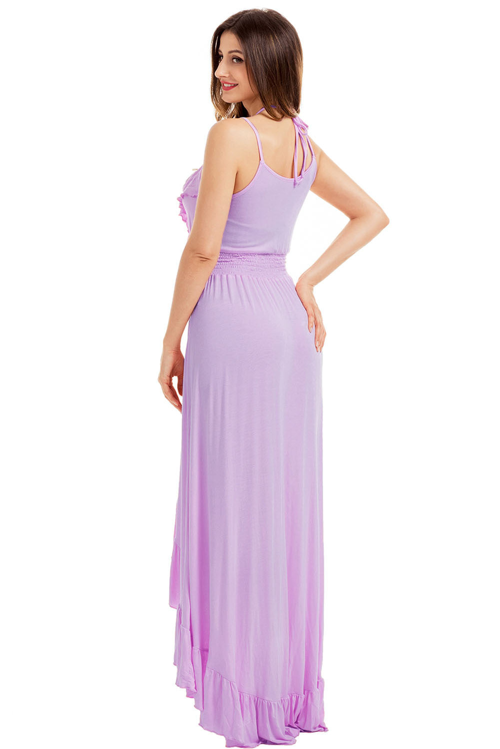 Lilac Lace Up V Neck Ruffle Trim Hi-Low Maxi Dress LAVELIQ