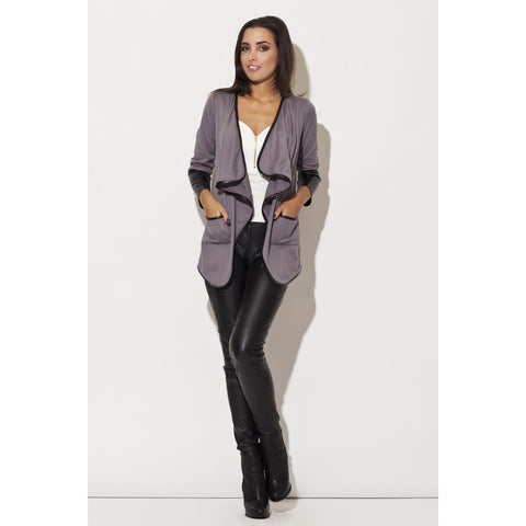 Grey Jacket With Fitted Leather Cuffs LAVELIQ