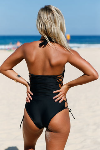 Maldives Resort Lace Up Side Accent Open Back One-Piece Swimsuit LAVELIQ