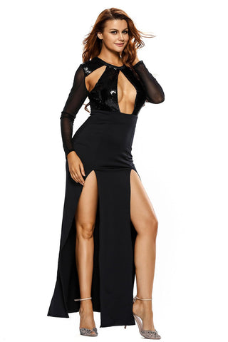 Mesh Sleeve Gown With Sequin Front LAVELIQ