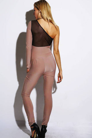 Mocha One-Sleeved Mesh Insert Jumpsuit LAVELIQ SALE