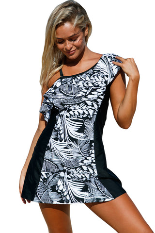 Monochrome Jungle 1Pc Swim Dress With Shorts LAVELIQ