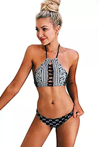 Monochrome Print Lace Up Tankinis Bathing Suit LAVELIQ