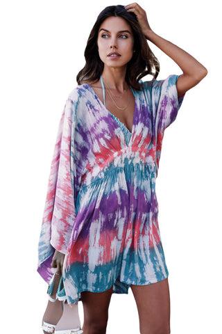 Multicolor Tie Dye Print Hawaii Beach Cover Up LAVELIQ