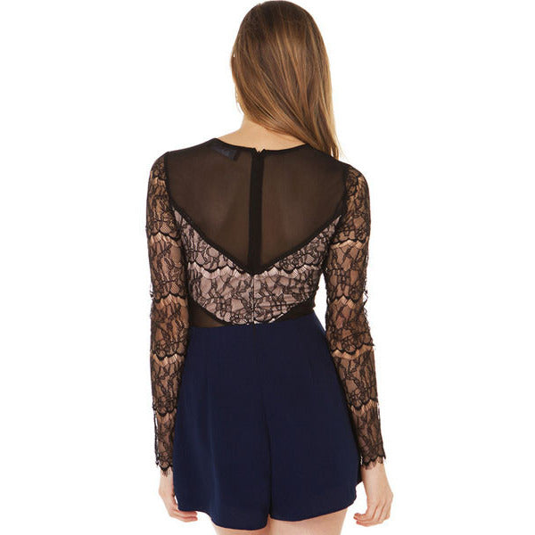 Navy Black Chiffon Lace Playsuit LAVELIQ - LAVELIQ - 3