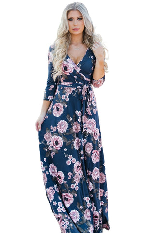 Navy Blue Blooming Flower Print Wrap Dress LAVELIQ