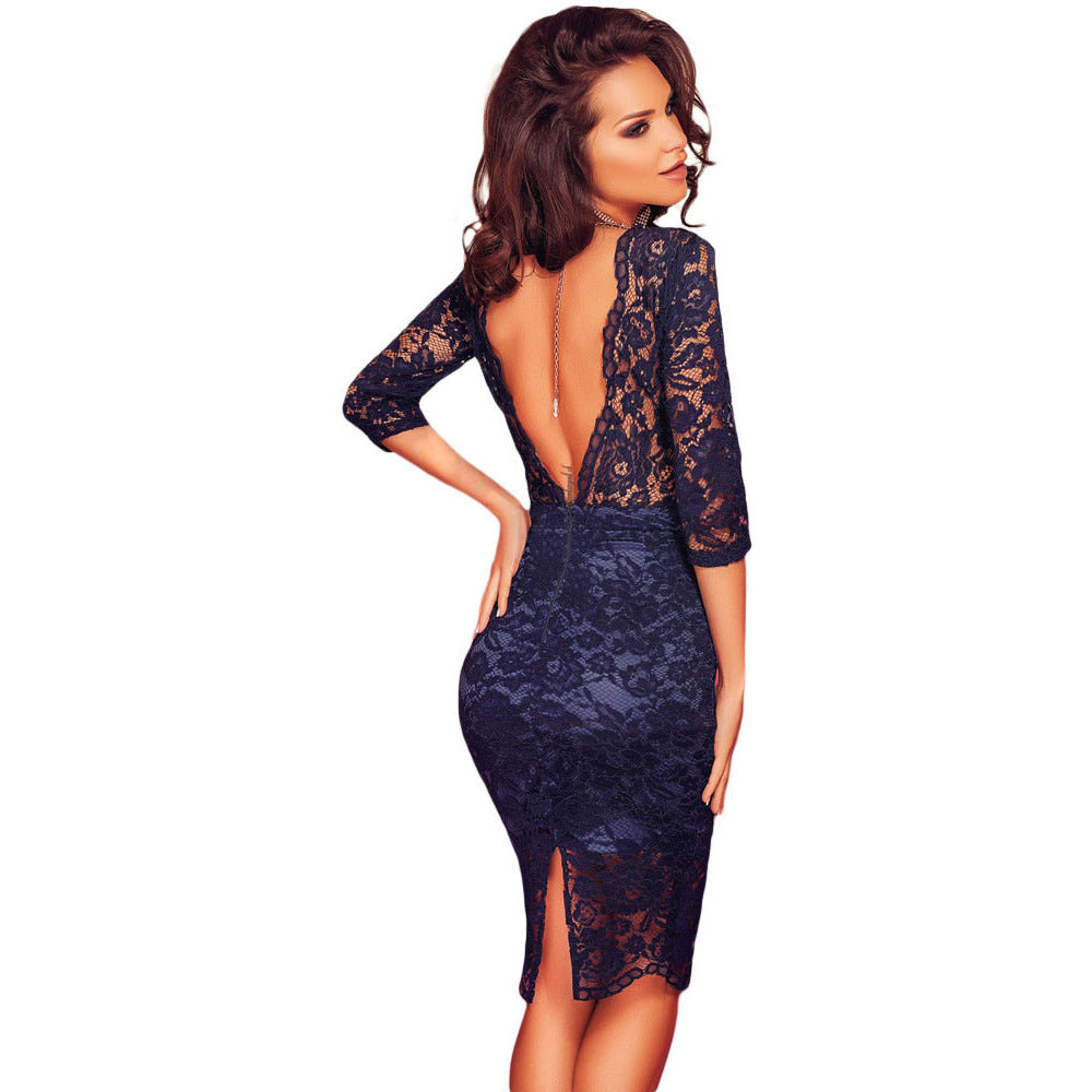 Navy Blue V Back Dress LAVELIQ - LAVELIQ - 2