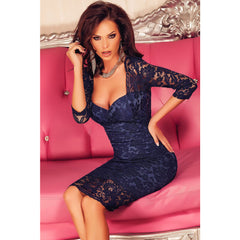 Navy Blue V Back Dress LAVELIQ - LAVELIQ - 1