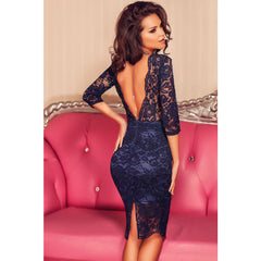 Navy Blue V Back Dress LAVELIQ - LAVELIQ - 3