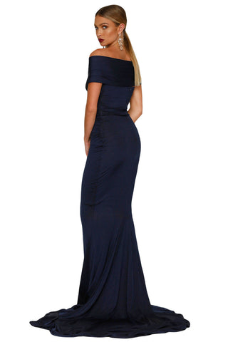 Navy Blue Mermaid Wedding Party Gown LAVELIQ