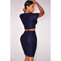Navy Blue Optical Lace Crop Skirt Set LAVELIQ - LAVELIQ - 2