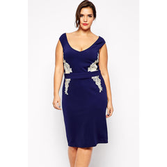 Navy Blue Plus Size Lace Dress Sale LAVELIQ - LAVELIQ - 1