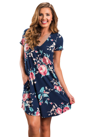 Navy Blue Pocket Design Summer Floral Shirt Dress LAVELIQ