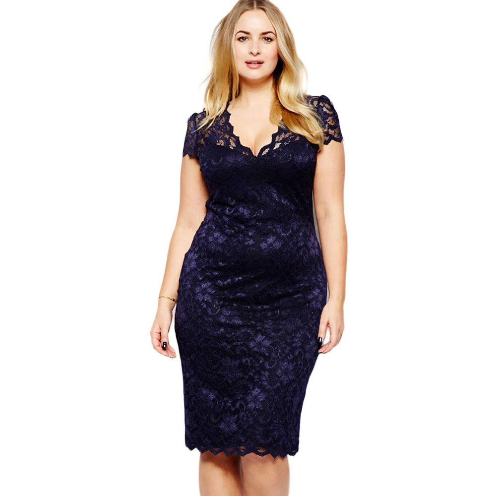 Navy Blue V-Neck Lace Plus Size Midi Dress LAVELIQ - LAVELIQ - 1