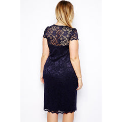 Navy Blue V-Neck Lace Plus Size Midi Dress LAVELIQ - LAVELIQ - 2