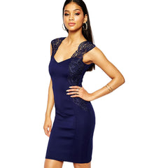 Navy Lace Mini Dress LAVELIQ - LAVELIQ - 1
