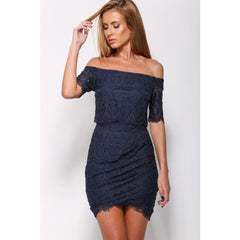 Navy Lace Off-Shoulder Mini Dress LAVELIQ - LAVELIQ - 1