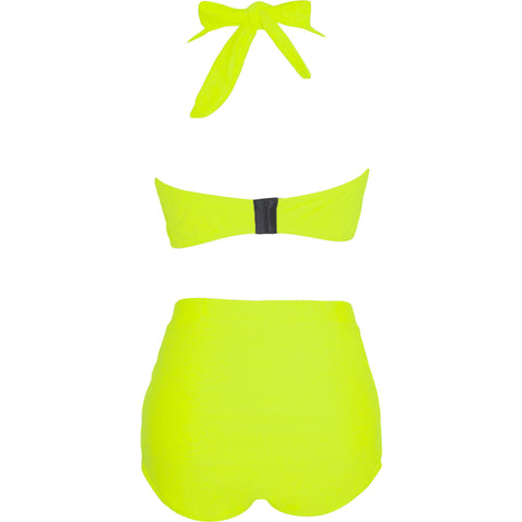 Neon Yellow High Waist Plus Size Swimwear LAVELIQ