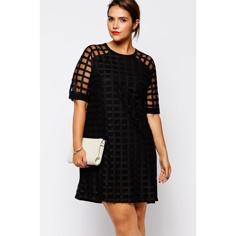 Mesh Overlay Plus Size Mini Dress LAVELIQ - LAVELIQ - 1