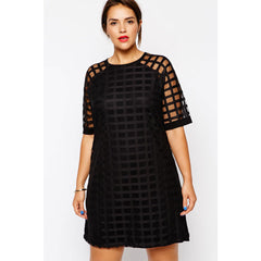 Mesh Overlay Plus Size Mini Dress LAVELIQ - LAVELIQ - 2