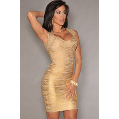 Gold Foil Print Bandage Dress LAVELIQ SALE - LAVELIQ - 2