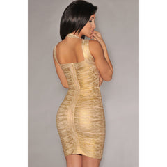 Gold Foil Print Bandage Dress LAVELIQ SALE - LAVELIQ - 3
