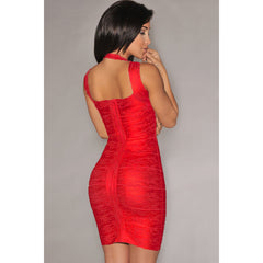 Red Foil Print Bandage Dress LAVELIQ  - LAVELIQ - 2
