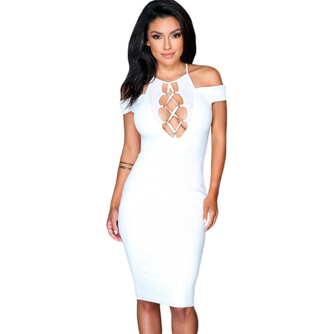 Nightwalker Bodycon Lace-Up Hollow-Out Dress In White LAVELIQ