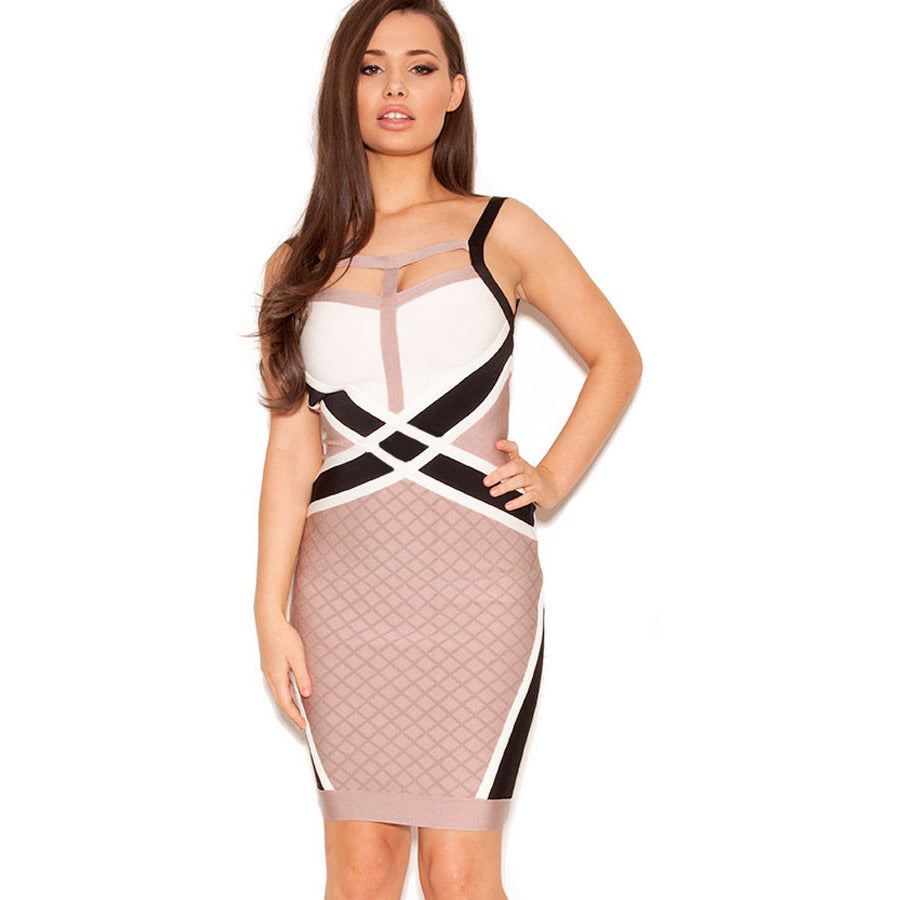 Nude Black White Strappy Zip Bandage Dress LAVELIQ SALE - LAVELIQ - 1