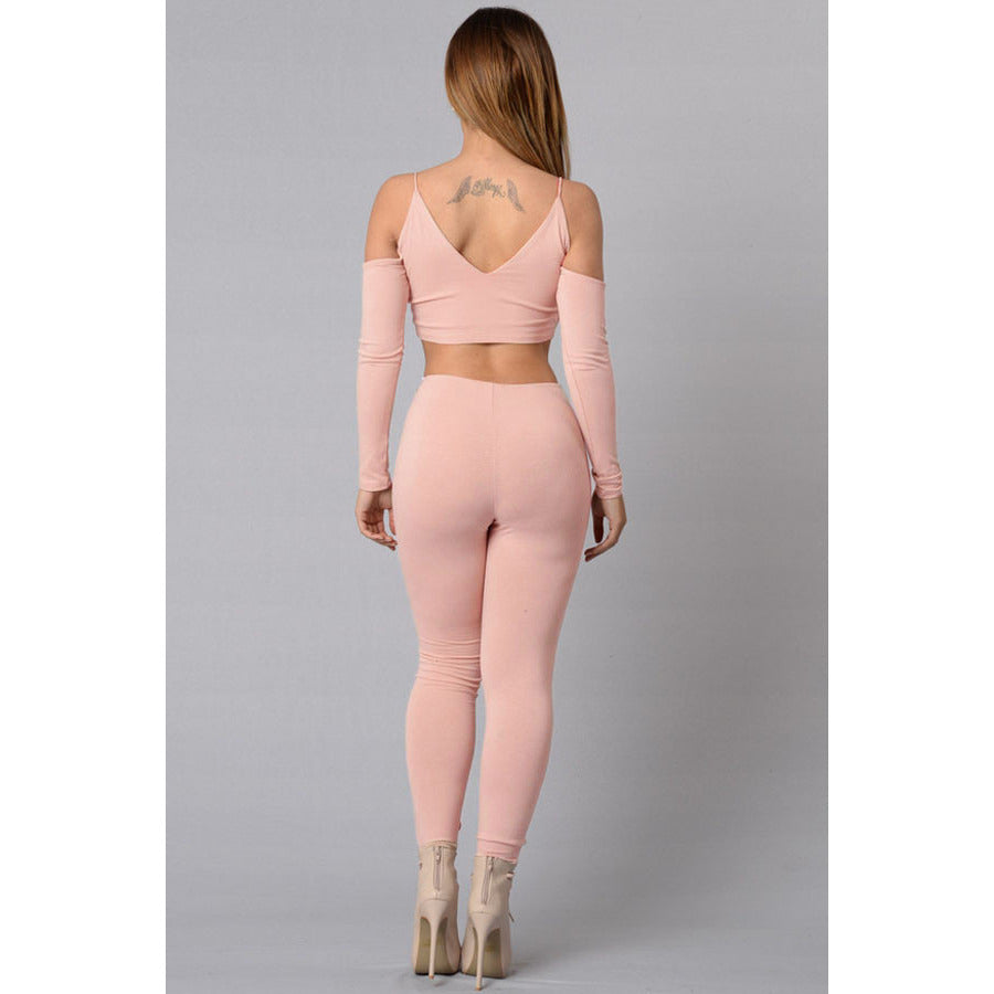 Nude Cut Out Shoulder Top Tight Pant Set LAVELIQ - LAVELIQ - 2