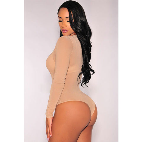 Flirting Nude Long Sleeve Bodysuit LAVELIQ
