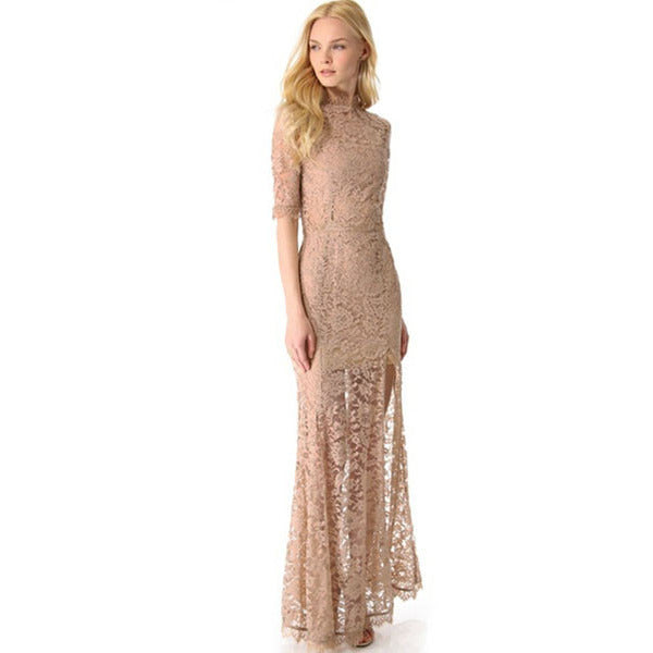 Nude Pink High Slit V Back  Maxi Dress LAVELIQ - LAVELIQ - 1
