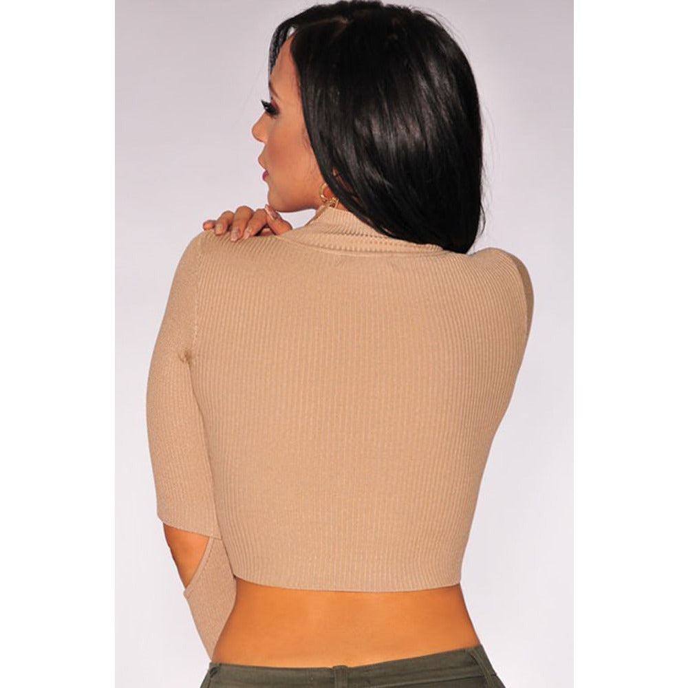 Nude Ribbed Cut Out Sleeves Crop Top LAVELIQ - LAVELIQ - 2
