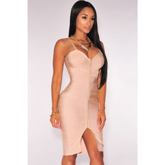 Nude Zipper V Neck Bandage Dress LAVELIQ  - LAVELIQ - 1