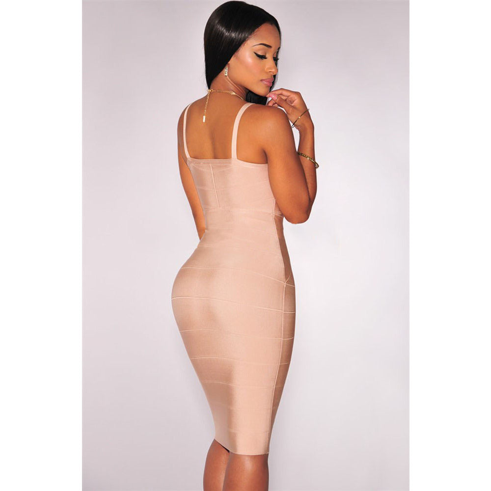 Nude Zipper V Neck Bandage Dress LAVELIQ  - LAVELIQ - 2