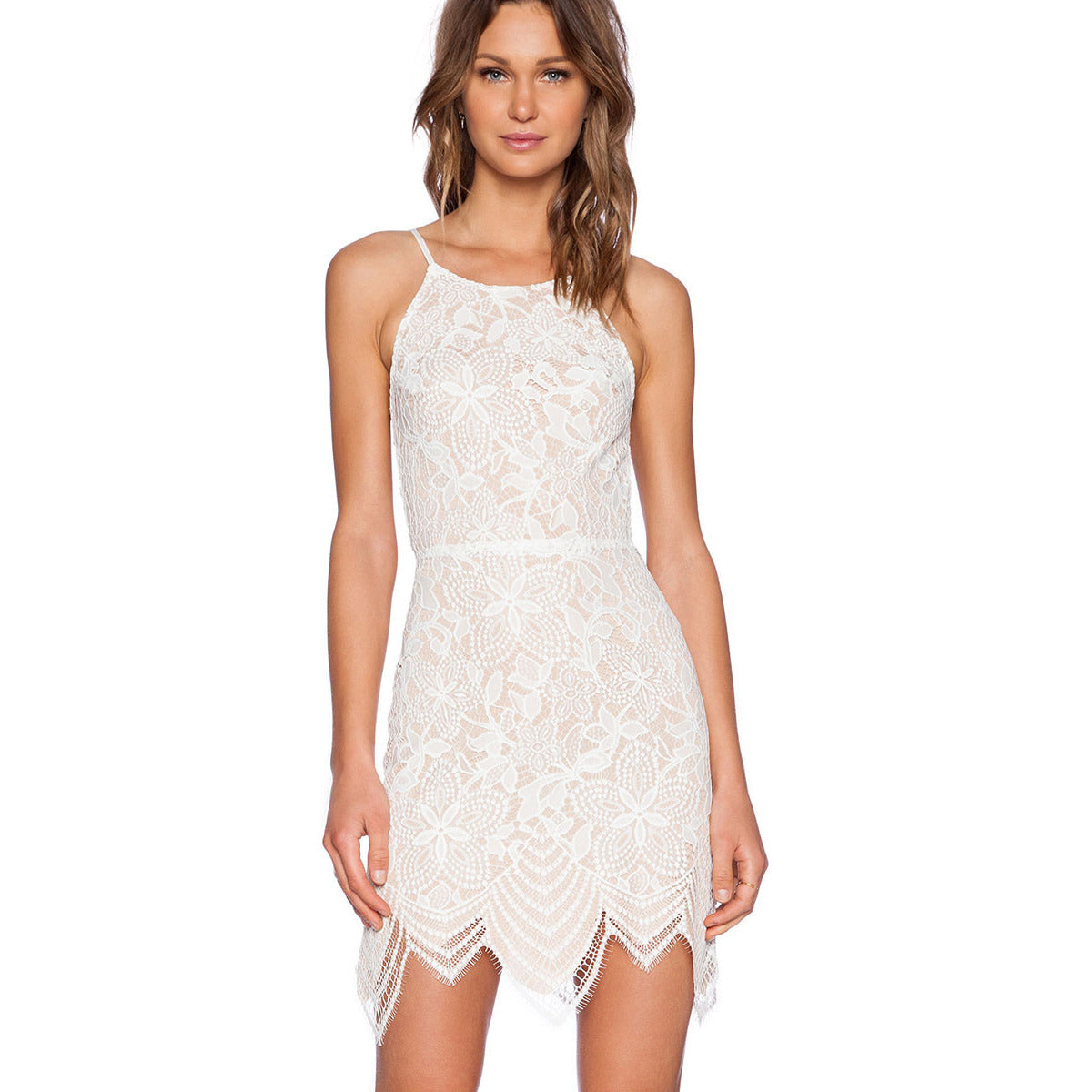 Off White Lace Backless Mini Dress LAVELIQ - LAVELIQ - 1