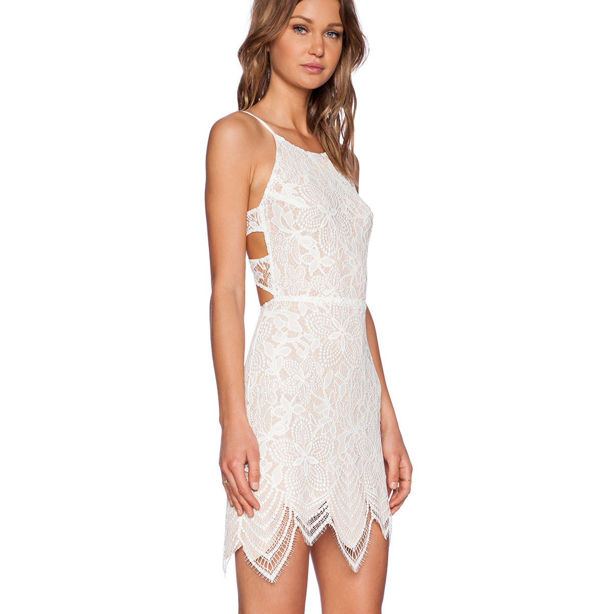 Off White Lace Backless Mini Dress LAVELIQ - LAVELIQ - 2