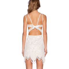 Off White Lace Backless Mini Dress LAVELIQ - LAVELIQ - 3