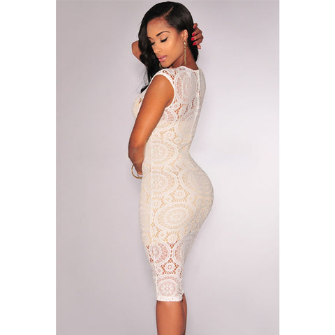 Off White Net Nude Midi Dress Sale LAVELIQ