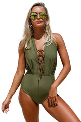 Olive Green Lace Up Halter One Piece Swimsuit LAVELIQ