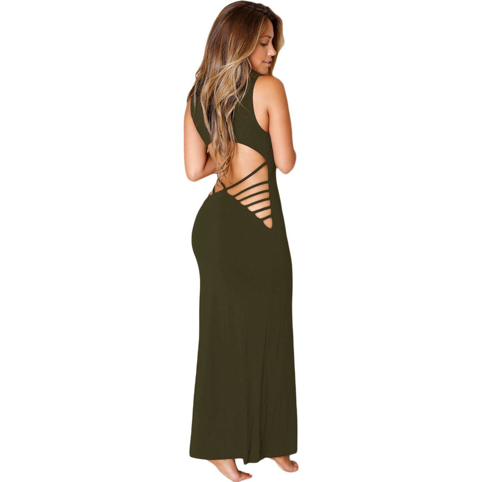 Olive Back Maxi Jersey Dress LAVELIQ - LAVELIQ - 2