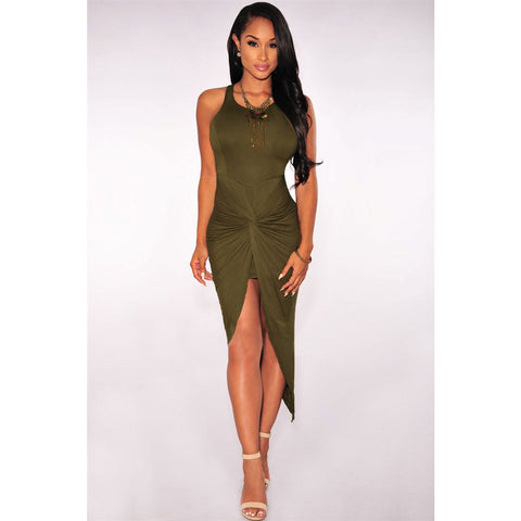 Olive Knotted Midi Dress LAVELIQ